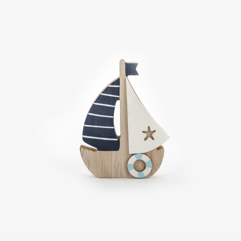 Bomboniera decorazione barca in legno Pz.  6