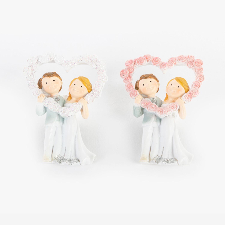 Bomboniera sposi con calamita due soggetti Pz. 12