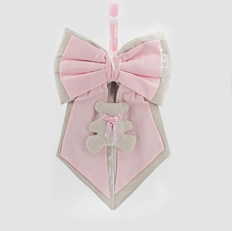 Fiocco nascita doppio rosa e beige con orsetto Pz. 1