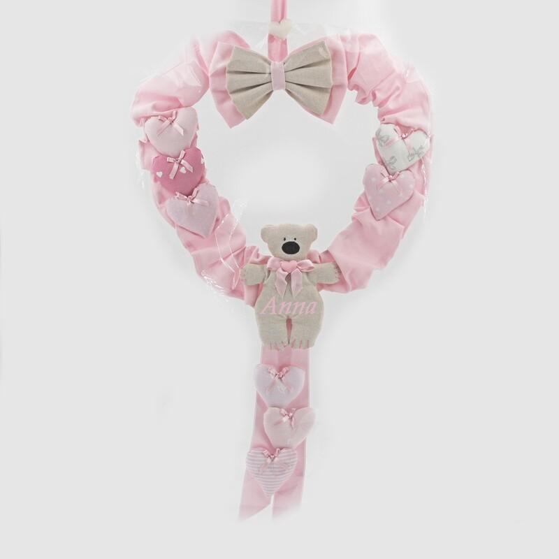 Fiocco nascita rosa con orsetto è nata Pz.1