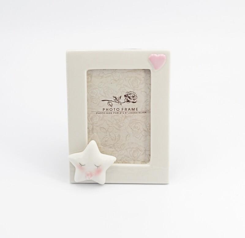 Bomboniera portafoto con stellina rosa Pz. 1