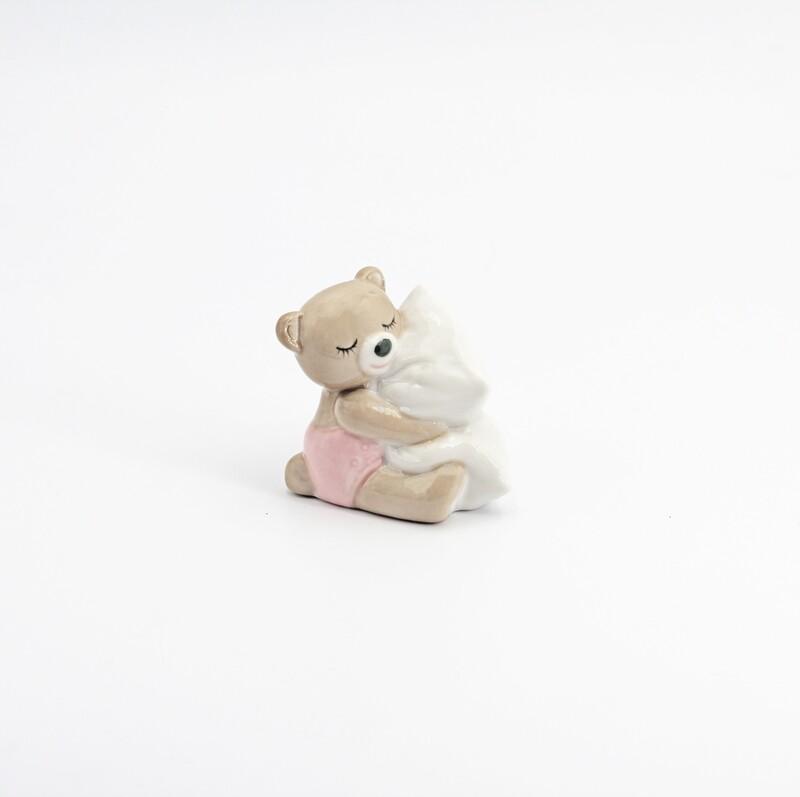Bomboniera orsetto piccolo rosa con cuscino Pz. 1