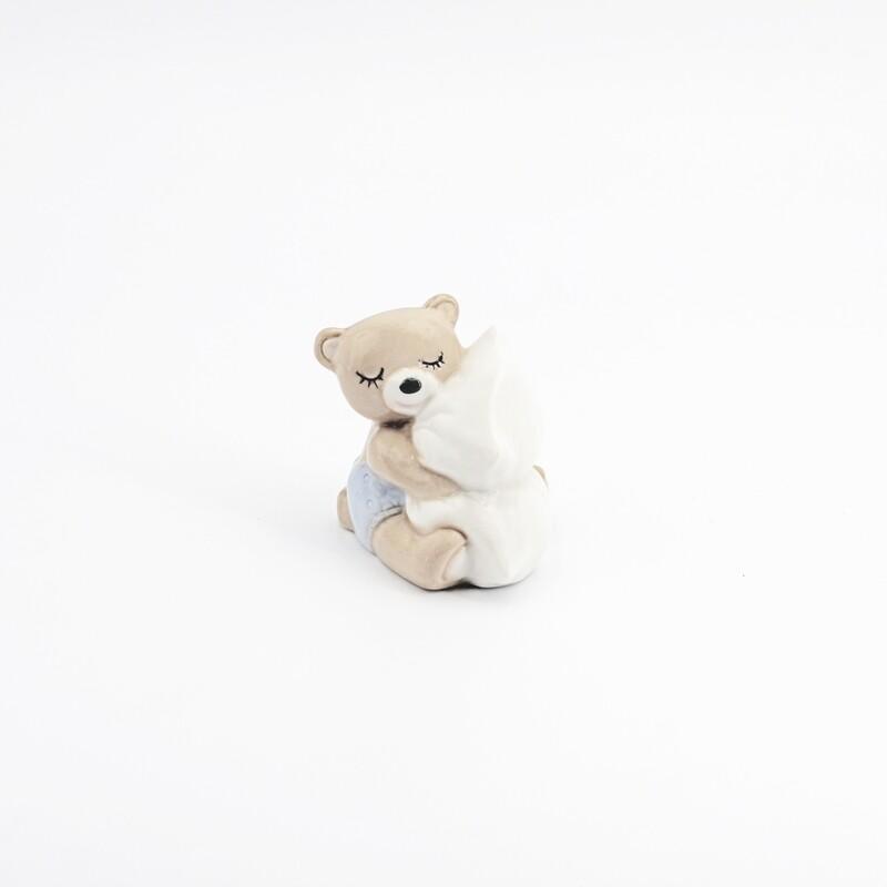 Bomboniera orsetto piccolo celeste con cuscino Pz. 1