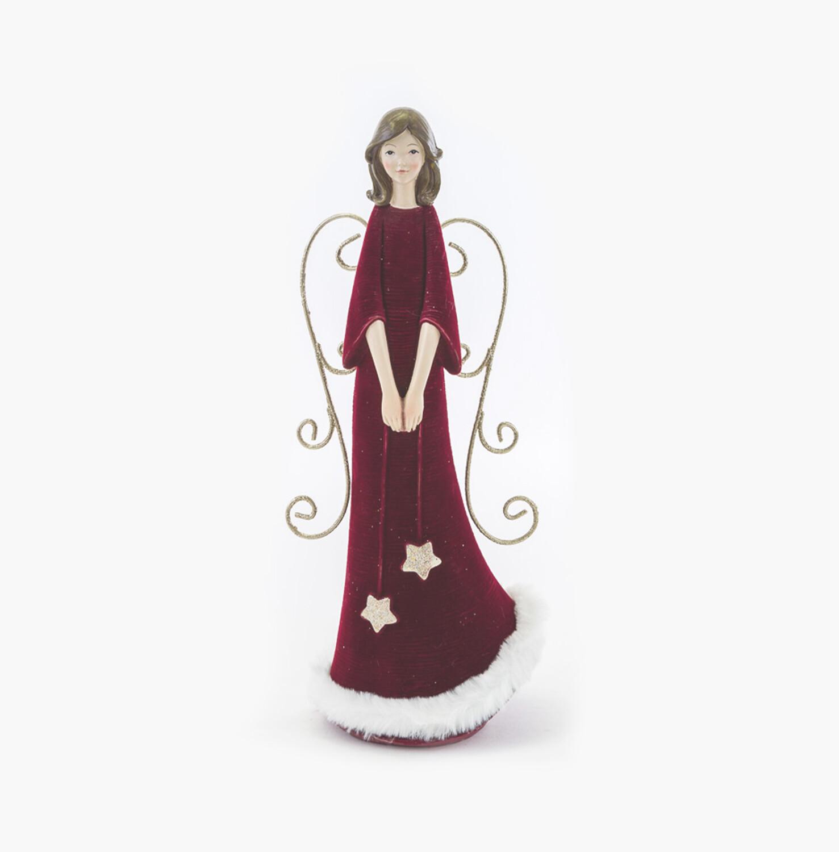 Bomboniera natalizia angelo velluto rosso Pz. 2