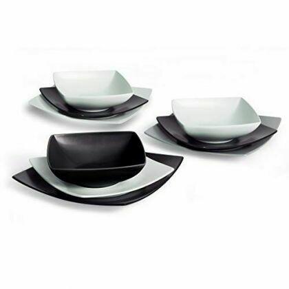 Servizio piatti da tavola 18 pezzi eclipse bianco e nero