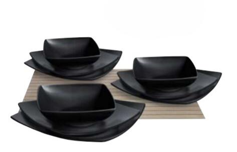 Servizio piatti da tavola 18 pezzi eclipse nero