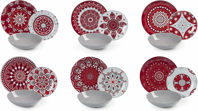 Excelsa Mandala Red Servizio piatti da tavola 18 pezzi