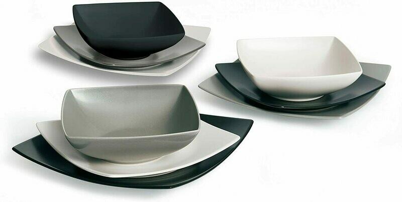 Servizio piatti da tavola 18 pezzi eclipse nero grigio bianco