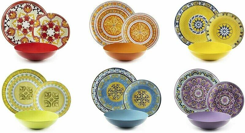 Servizio piatti da tavola 18 pezzi etno chic