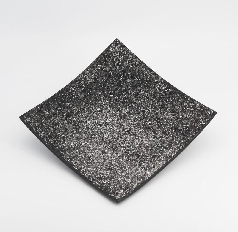 Centrotavola quadrato cristalli neri Pz. 1