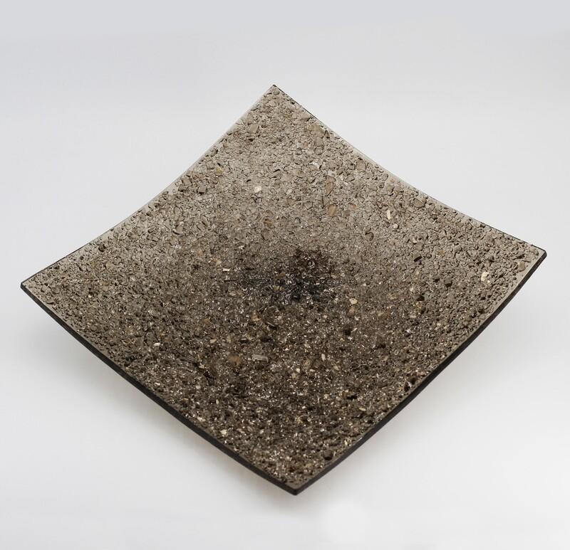 Centrotavola quadrato cristalli bronzo Pz. 1