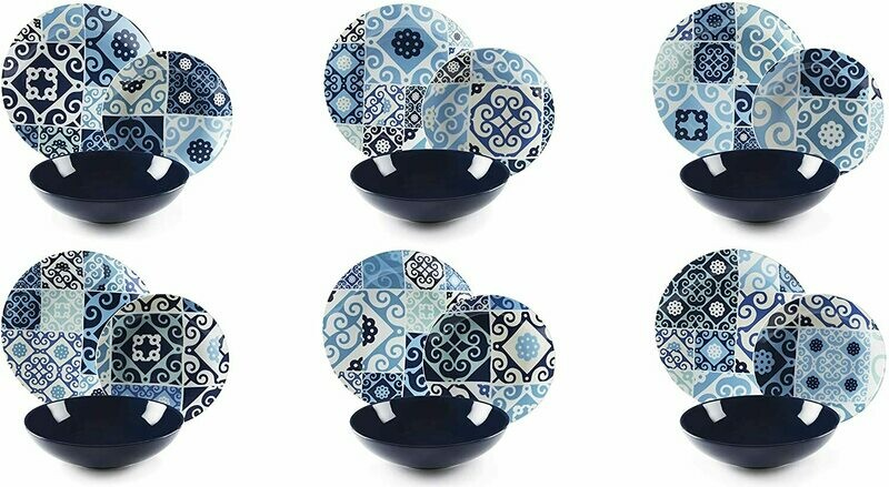 Servizio piatti da tavola 18 pezzi maiolica blue