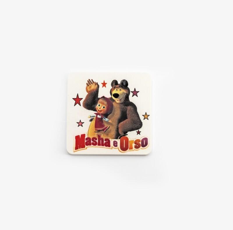 Bomboniera quadrata masha e orso con calamita  Pz. 1