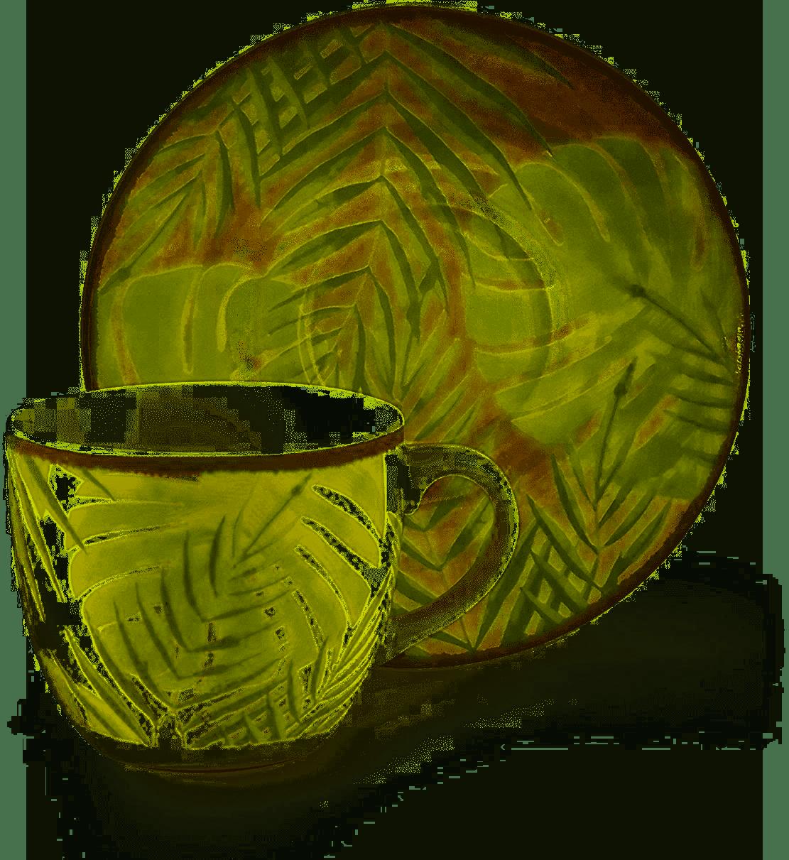 Excelsa Foliage Set 6 tazzine caffè con piattini