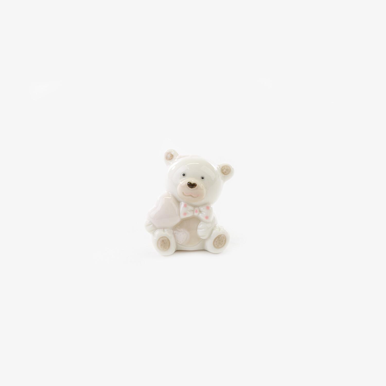 Bomboniera orsetto piccolo con cuore rosa Pz. 12