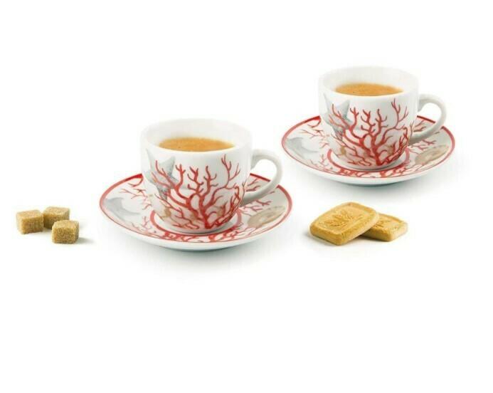 Excelsa Coral Set 6 tazzine caffè con piattini
