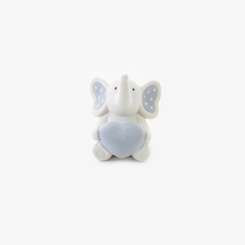 Bomboniera elefantino con cuore celeste Pz. 4