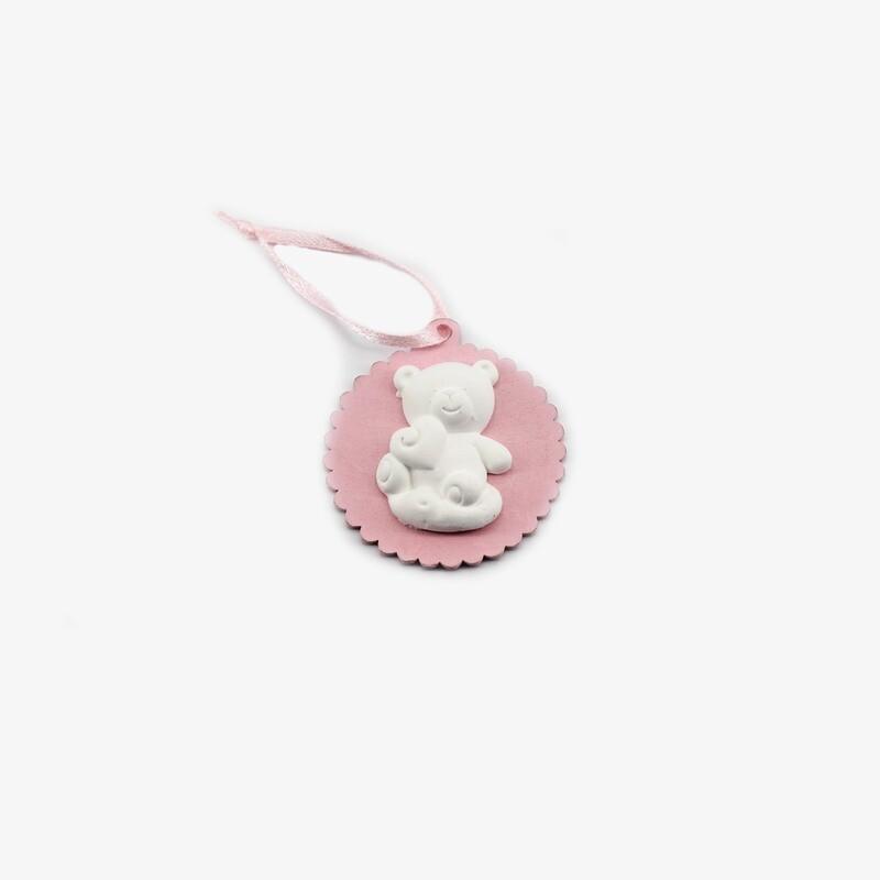 Appendino rosa gessetto orsetto Pz. 6