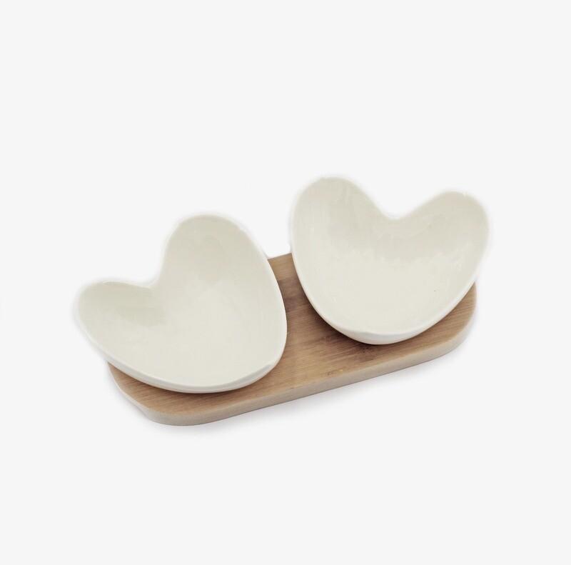 Bomboniera set due ciotole cuore Pz. 1