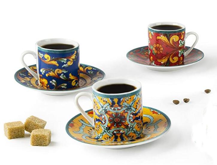 Excelsa Trinacria Set 6 tazzine caffè con piattini