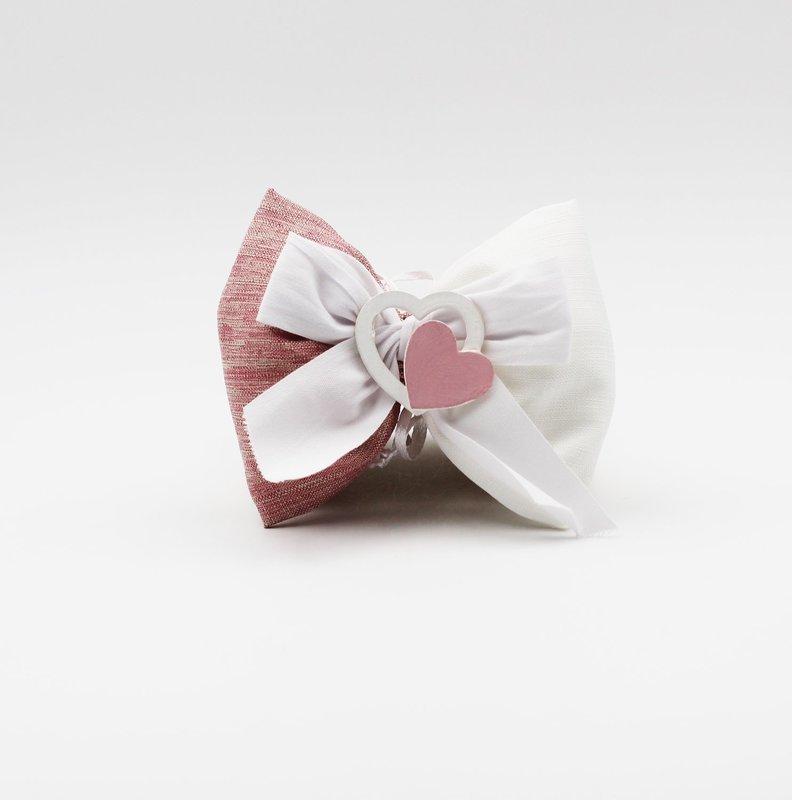 Fiocco bianco e rosa Pz.12