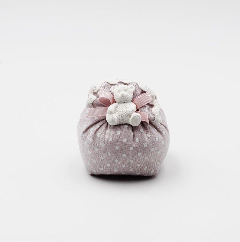 Sacchetto lino rosa con orsetto Pz.12