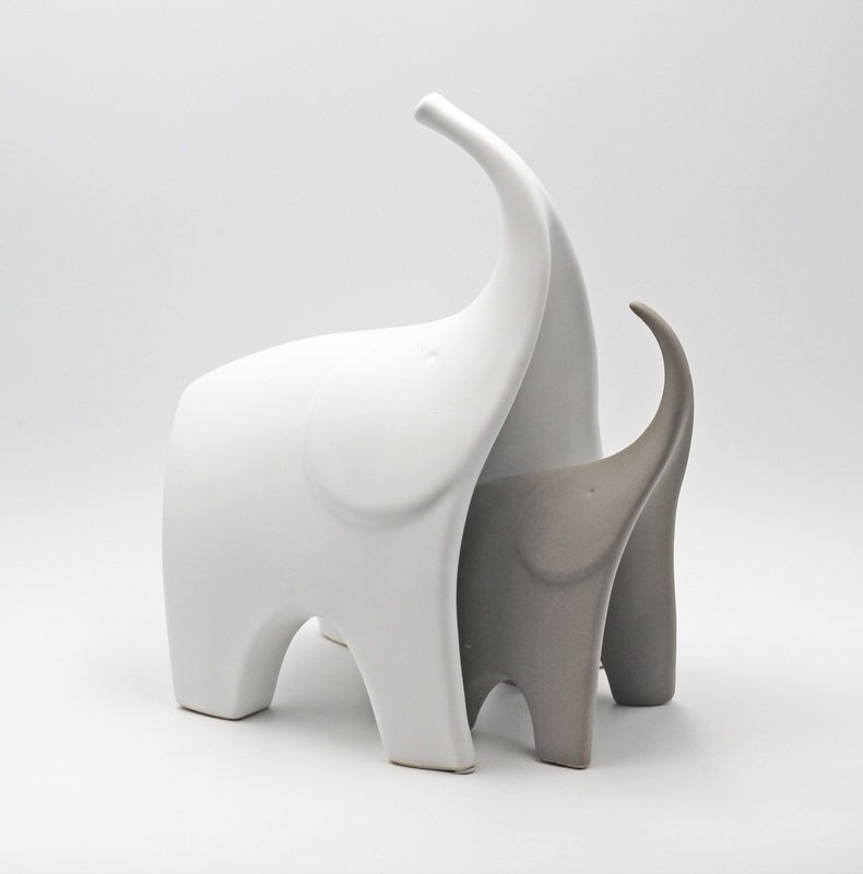 Bomboniera Ilary Queen coppia elefanti bianco e tortora Pz.1