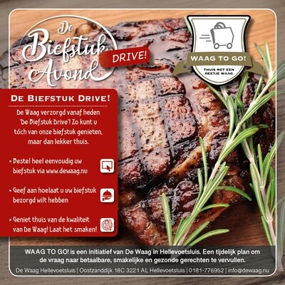 Biefstukavond Drive Thru (woensdag 28-04 17:00 - 19:30 )