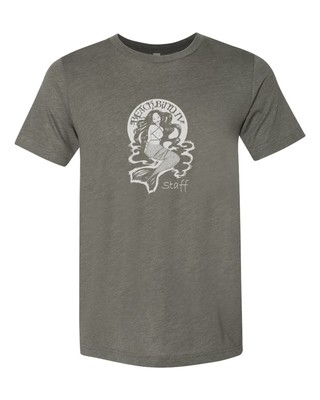 Staff T-Shirt - BBIV - Military Green Triblend- Human Chuo Original Mermaid Ball Gag Design