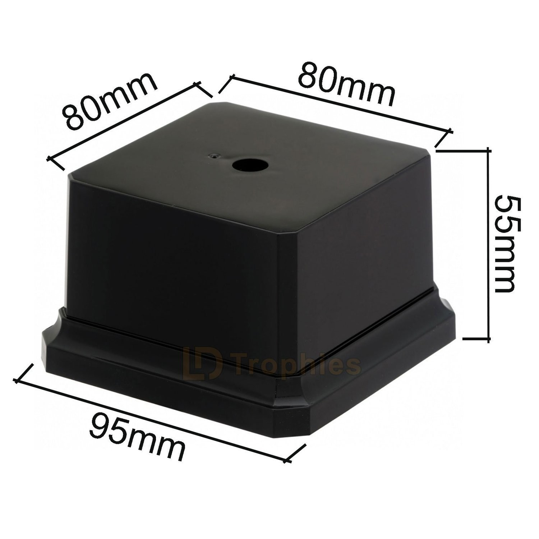 Black Plastic Square Trophy Base Plinth 145 X 145 X 80mm FREE Engraving