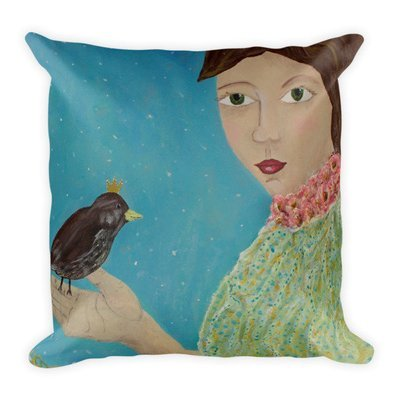Winter Bird   Square Pillow