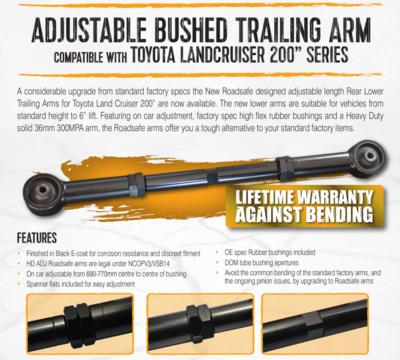 TOYOTA LANCRUISER 200 SERIES ADJUSTABLE BUSHED REAR LOWER TRAILING ARMS TALC2AB LIFETIME WARRANTY AGAINST BENDING !