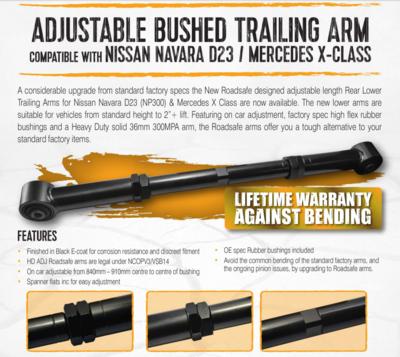 NISSAN NAVARA REAR LOWER ADJUSTABLE BUSHED TRAILING ARMS SUIT D23/NP300 LIFETIME WARRANTY AGAINST BENDING