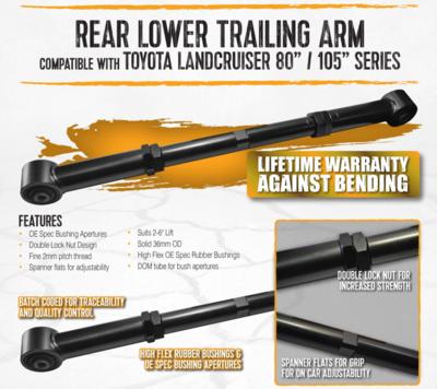 TOYOTA LANDCRUISER 80/105 SERIES REAR LOWER BUSHED ADJUSTABLE TRAILING ARMS LIFETIME WARRANTY AGAINST BENDING