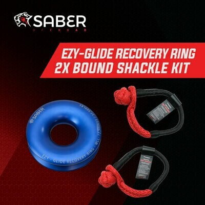 SABER EZXY-GLIDE RECOVERY RING NEW + TWIN 17K BOUND SOFT SHACKLE KIT