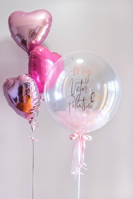 Bubble Balloon with Tulle & Heart Balloons