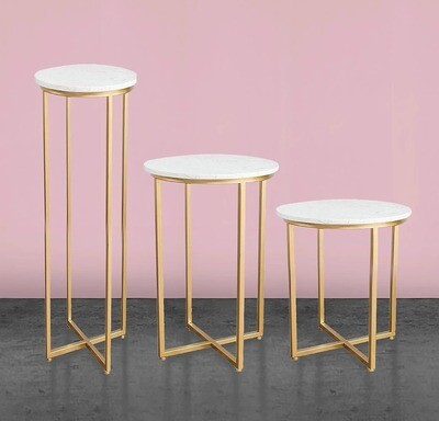 Set of 3 Gold Marble Cake Table (Save $50.00)