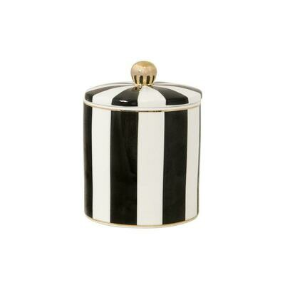 Cristina Re Ebony Stripe Candle - Vanilla Macaron
