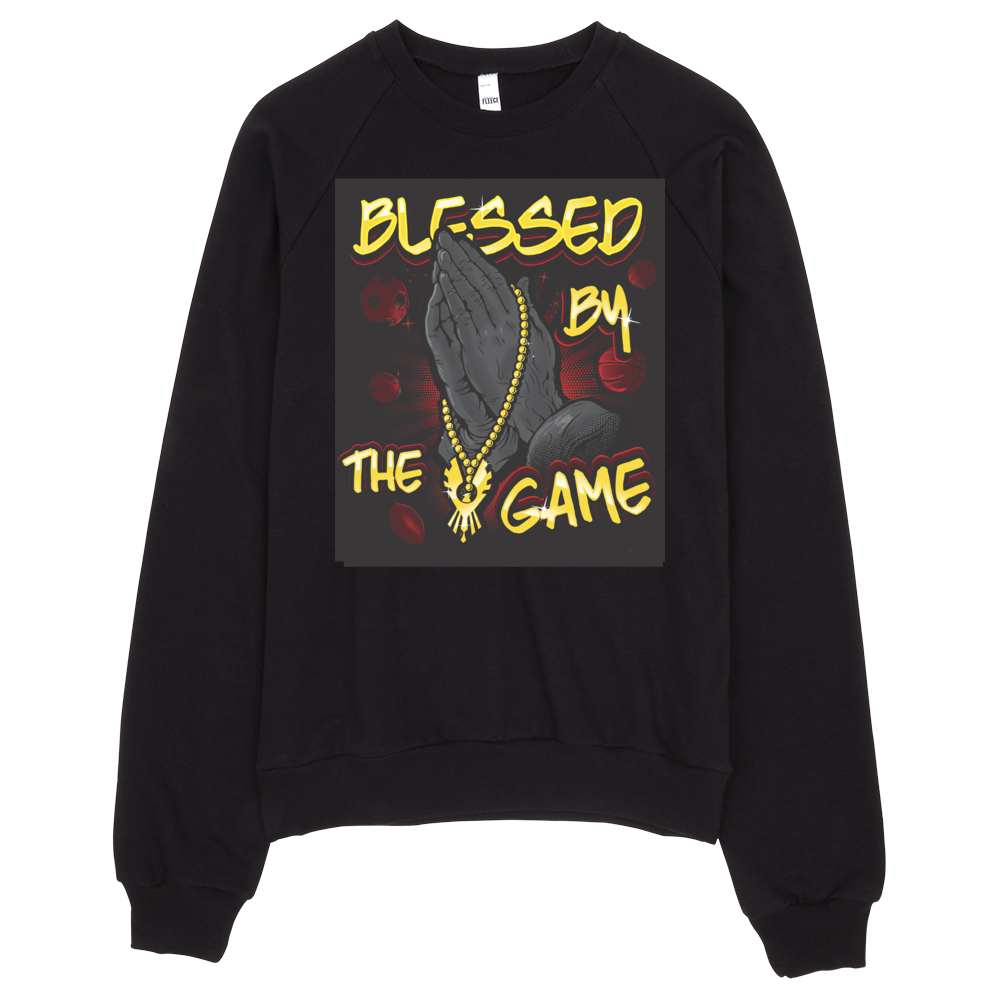 """Blessed By the Game"" Unisex California Fleece Raglan Sweatshirt"