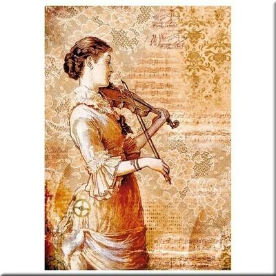 Papel de arroz  A4 - Steampunk Woman with Violin