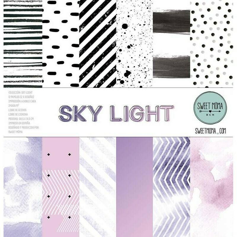 """Colección de Papeles Doble Cara 12""""x12"""" - Sky Light"""