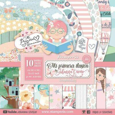 """Colección de Papeles Doble Cara 12""""x12"""" - Mi Primera Ilusión Niña"""