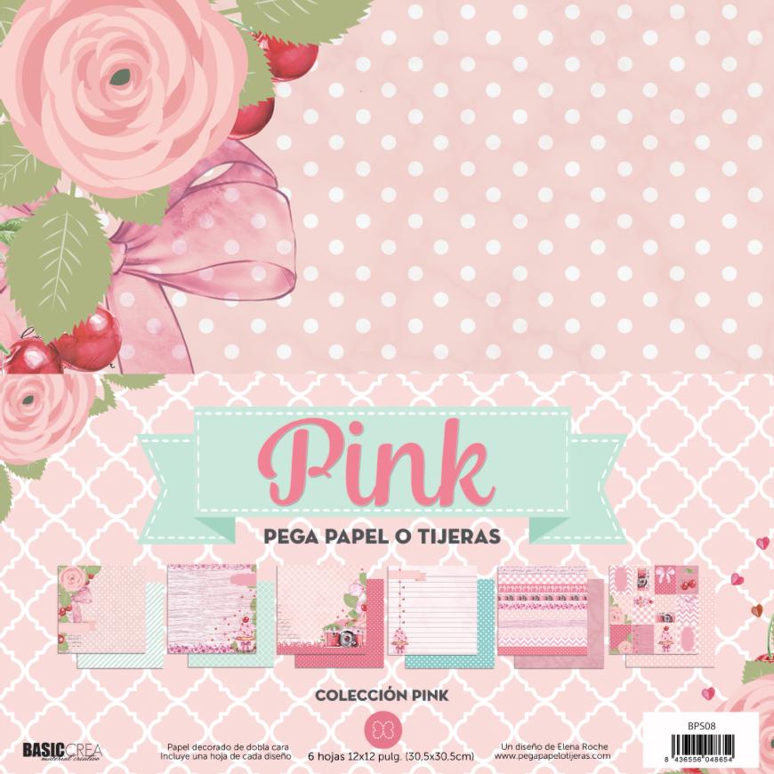 """Colección de Papeles Doble Cara 12""""x12"""" - Pink"""