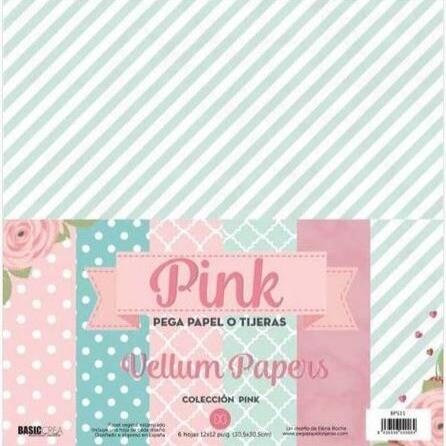 """Colección de Papeles Vellum 12""""x12"""" - Pink"""