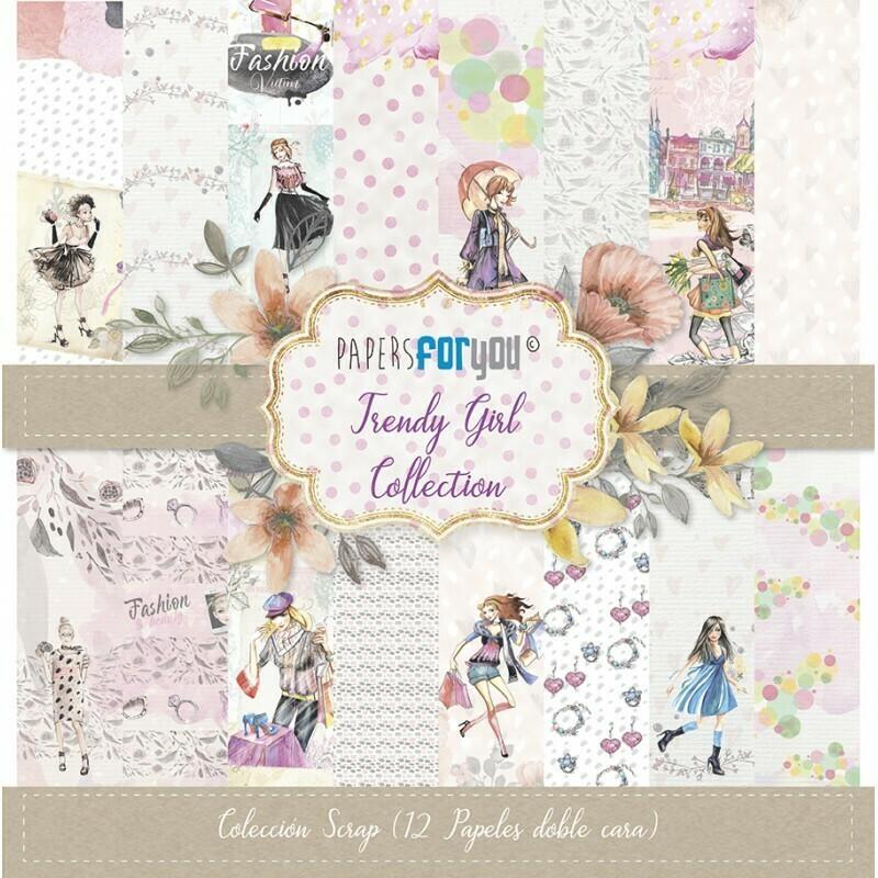 """Colección de Papeles Doble Cara 12""""x12"""" - Trendy Girl"""