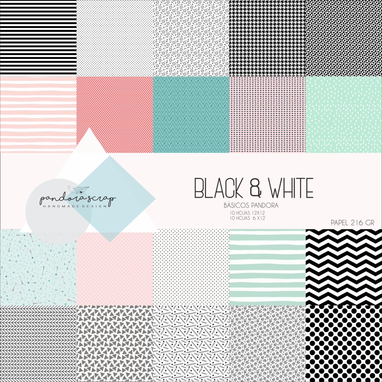 """Colección de Papeles 12""""X12"""" - Black and White"""