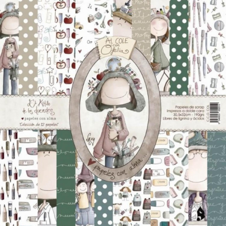 """Colección de Papeles 12""""x12"""" - Al Cole con Ofelia"""