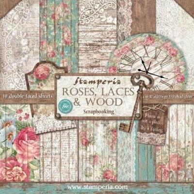 """Colección de Papeles 12""""x12"""" - Roses, Laces & Wood"""