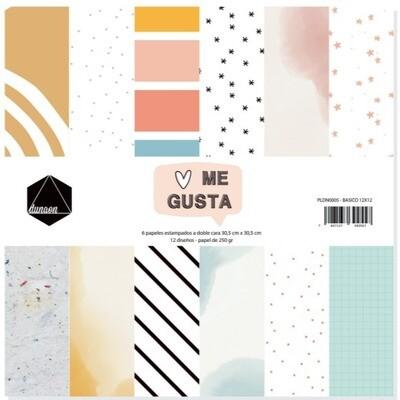 """Colección de Papeles  Básicos 12""""x12"""" - Me Gusta"""