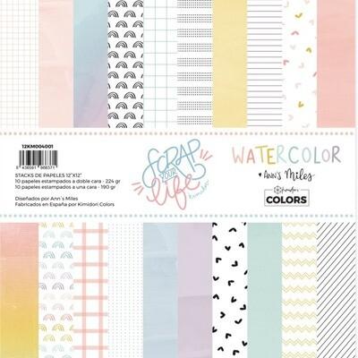 """Colección de Papeles 12""""x12"""" - Scrap Your Life Watercolor"""